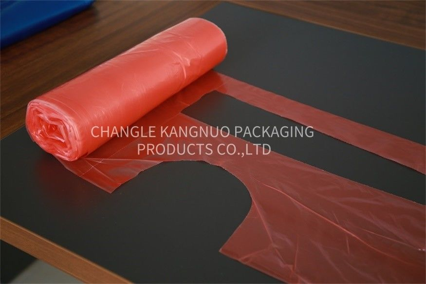 Colored Disposable PE Apron On The Roll , Red Plastic Kitchen Apron For Adult