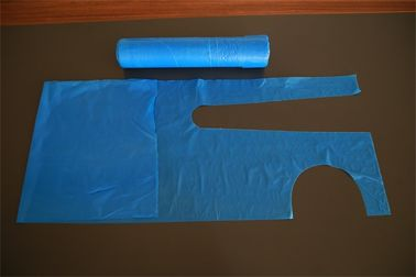 "Blue Plastic Aprons Disposable On The Roll With Round Neck Waist Tie 26""X48"""