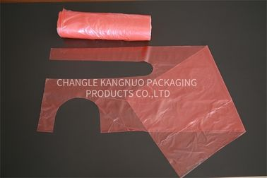 Red HDPE / LDPE Plastic Disposable Kitchen Aprons With 800x1200mm Size