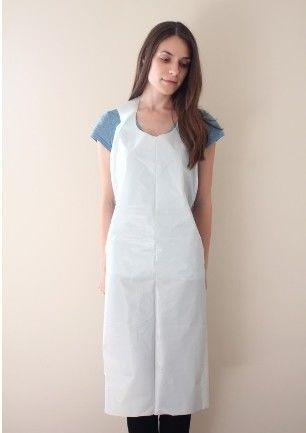 Food Industry Disposable Plastic Aprons Blue HDPE LDPE Smooth On Block